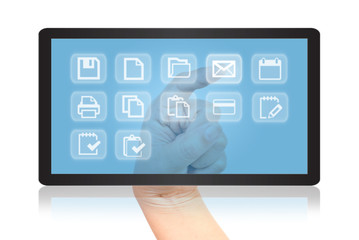 Hand pushing digital button on tablet screen.