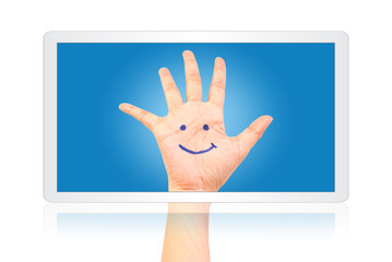 Smile on hand on tablet isolate on the white.