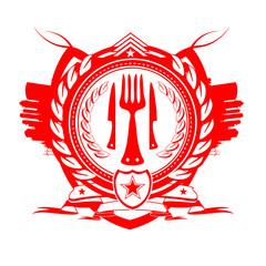 Starred Restaurant gastronomy blazon red logo template
