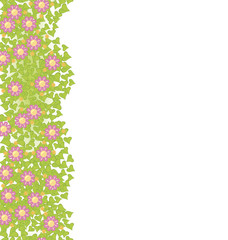 Decorative seamless element with pink flowers