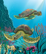 Illustration of sea turtles swimming underwater
