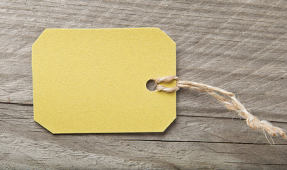 price tag on wooden background