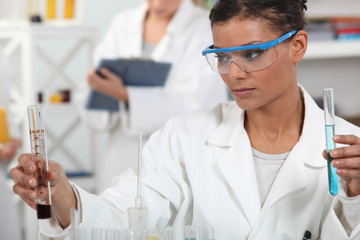 A female searcher in her lab.