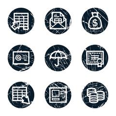 Banking web icons, grunge circle buttons