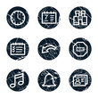 Organizer web icons, grunge circle buttons