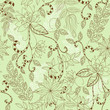 beautiful seamless flower patter on a green