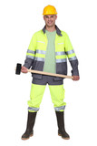 Tradesman holding a mallet poster