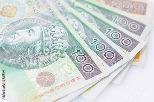 pięć banknotów close-up