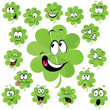 Four leaf clover cartoon - symbol of happiness