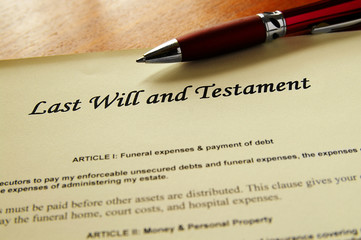 closeup of a Last Will and Testament document