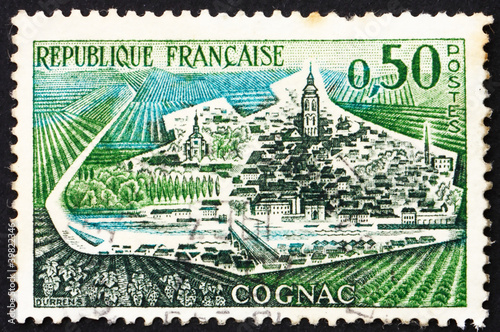 Postage stamp France 1961 View of Cognac, France
