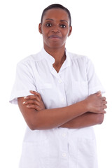 Female african american healthcare worker with folded arms