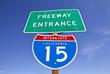 California Interstate 15 Freeway Entrance Sign