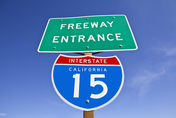 California Interstate 15 Freeway Entrance Sign