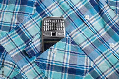 Phone in pocket shirt