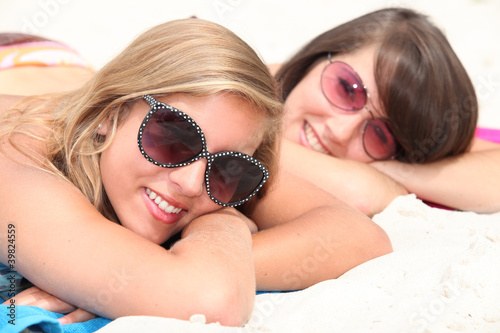 two young women on the beach