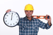 Construction worker with a clock