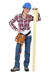 Female carpenter with set-square