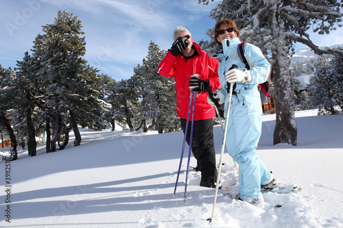Mature ski couple