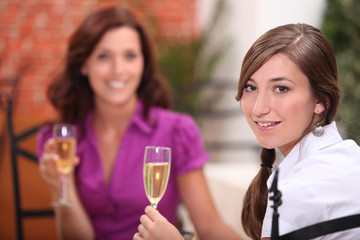 Woman toasting in restaurant