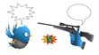 Parody - Social network rivals (Bird vs. Like) - with bubble