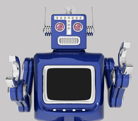 retro robot with big screen
