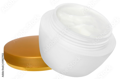 Jar with a cream on a white background.