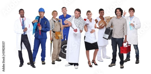 Ambitious workers from different industries