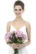 Border of beautiful bride holding pink flower