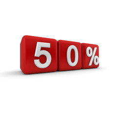 3D red blocks with fifty percent text