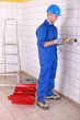Man preparing voltmeter