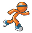 Orange Man Running with Blue Shoes