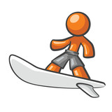 Orange Man surfing on a surf board.