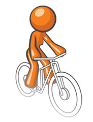 Orange Woman Riding Bike