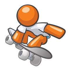 Orange Man Skate Boarding