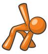 Orange Man Exercising