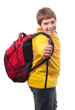 Handsome chubby teenage boy with school bag on his back