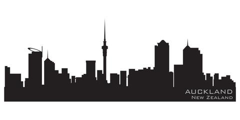 Auckland, New Zealand skyline. Detailed vector silhouette