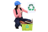 Woman recycling construction materials