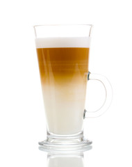 Fragrant сoffee latte in glass cup isolated on white