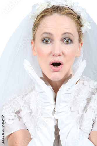 Bride looking surprised
