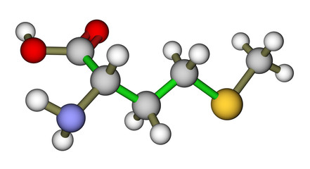 Essential amino acid methionine molecular structure