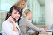 Women working in a call center