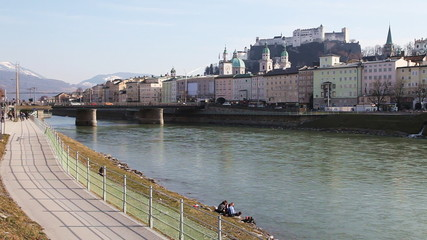 Salzburg's famous old town and Salzach River