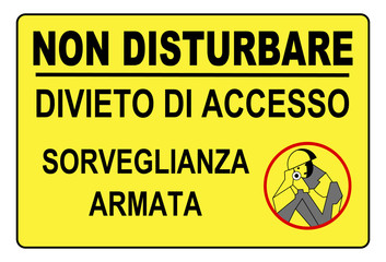 Cartello non disturbare