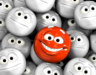 Happy laughing emoticon face among others