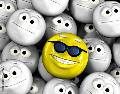 Happy smiling emoticon face among others
