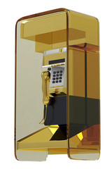golden pay phone side view