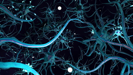 CG Digital Graphic of Network of Neuron Cells