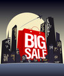 Big sale shopping bag in night city